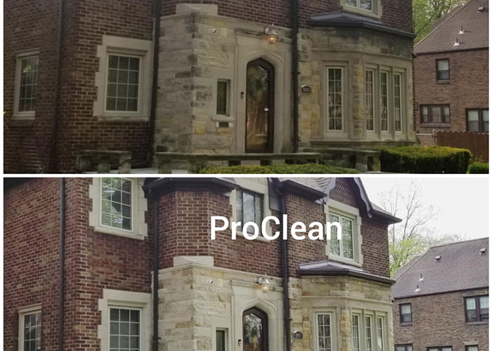 before and after brick house power washing
